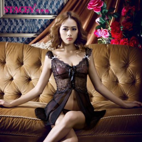 史黛丝 镂空蕾丝绑带式吊带睡裙