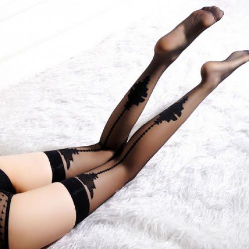 BEILEISI 超薄印花长筒丝袜